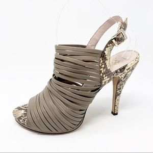 Vince Camuto Brown Snakeprint Strappy Heels Sz 9